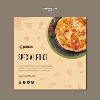 Вкусная пицца квадратный флаер шаблон