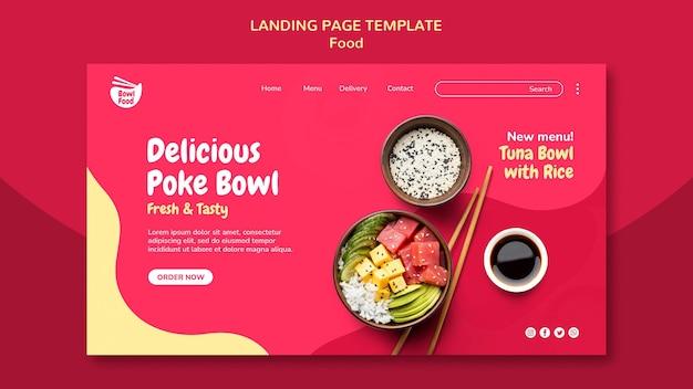 Delicious poke bowl landing page