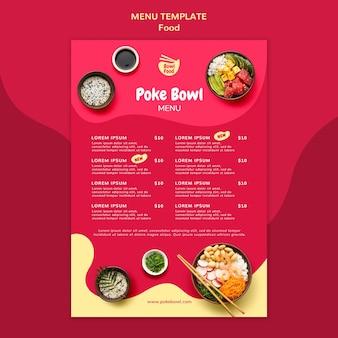 Modello di menu delizioso poke bowl