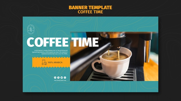 Delicious pouring coffee in white cupbanner template