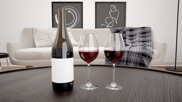 Delicious red wine in a modern living room mockup