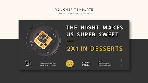 Delicious restaurant voucher template