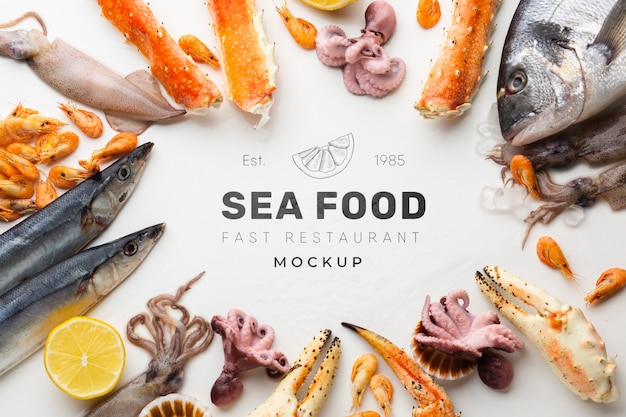 Delicious sea food assortment with mock-up