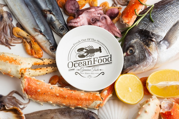 Delicious sea food assortment with plate mock-up