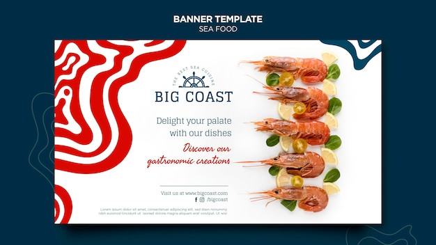 Delicious sea food banner template