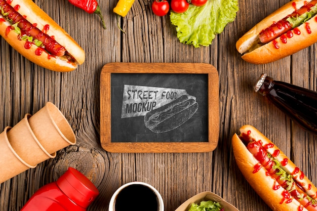 Delicious street food concept mock-up