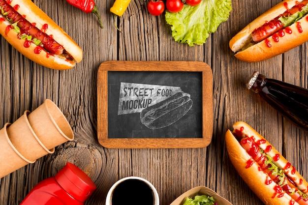 おいしい屋台の食べ物のコンセプトのモックアップ