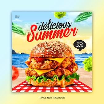 Шаблон сообщения в социальных сетях вкусной летней еды
