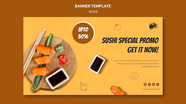 Delicious sushi banner template