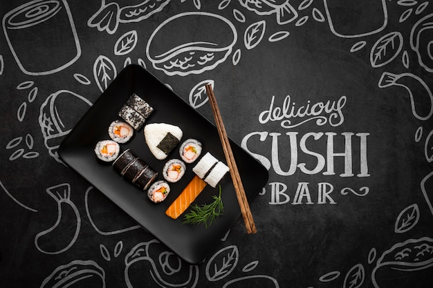 Delicious sushi bar with mock-up