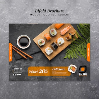 Delicious sushi food bifold brochure