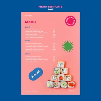 Modello di menu delizioso sushi