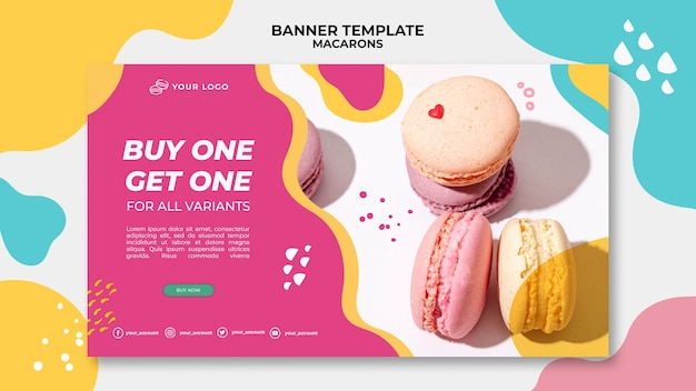 Delicious sweet macarons banner template