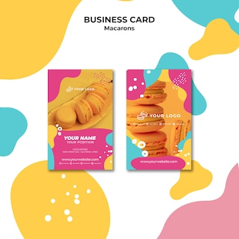 Delicious sweet macarons business card template