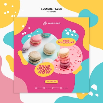 Delicious sweet macarons square flyer template