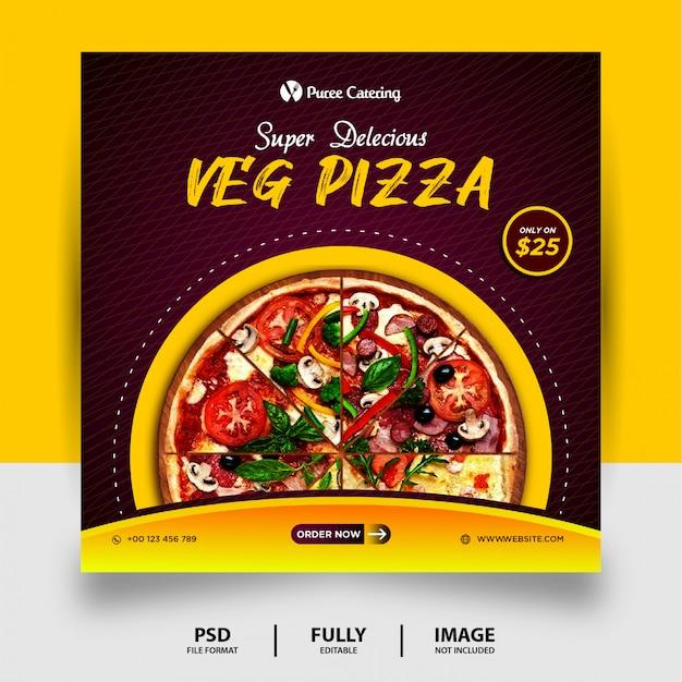 Delicious veg pizza food promotion social media post banner