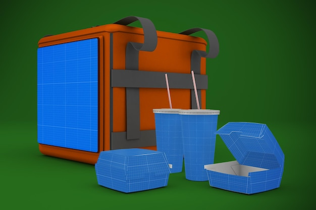 Delivery bag and fast food mockup