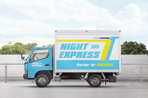 Delivery box truck advertising mockup