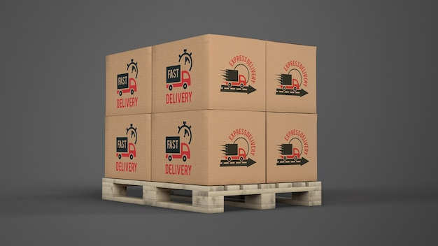 パレット上の配送ボックス