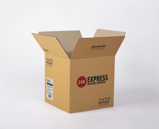 Delivery cardboard box mockup