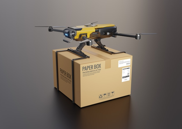 Delivery drone with the cardboard