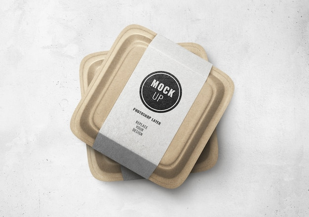 Delivery food brown box mockup