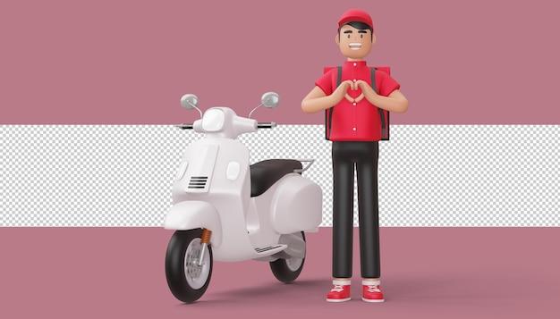 3d 렌더링에서 손과 배달 오토바이와 심장 모양을하고 배달 남자