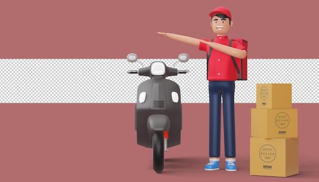オートバイでダビンをしている配達人、3dレンダリング