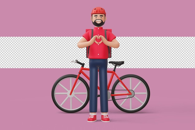 Delivery man doing a heart shape with hands and a delivery bikecycle in 3d rendering