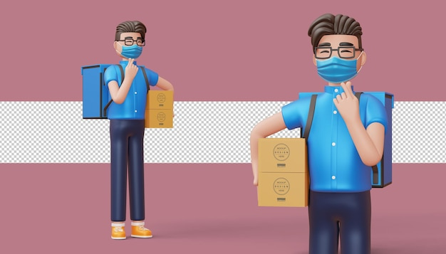 Delivery man doing mini heart with hands and hold a parcel box in 3d rendering