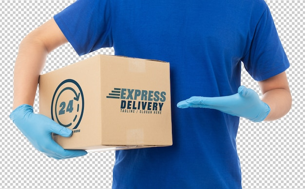 Delivery man hand in medical gloves holding cardboard box mockup template