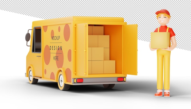 Delivery man hold a parcel with delivery truck in 3d rendering
