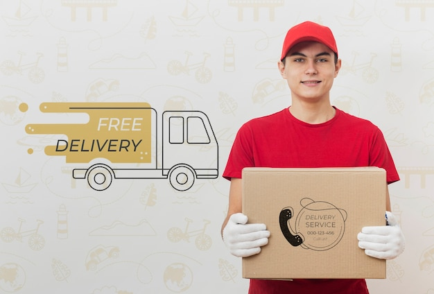 Delivery man holding parcel mock-up