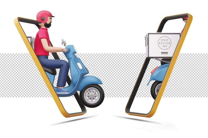 バイクに乗っている配達人が3dレンダリングで電話から出てきます
