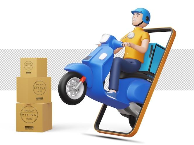 오토바이를 타는 배달 남자가 3d 렌더링에서 패키지 상자와 함께 전화에서 나온다.