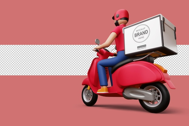 Delivery man riding a motorcycle with delivery box in 3d rendering