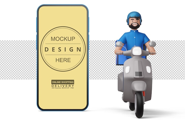 Delivery man riding a motorcycle with phone in 3d rendering