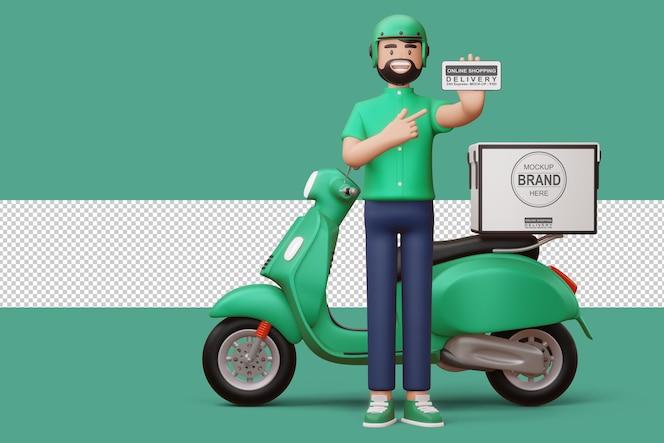 Uomo di consegna con il telefono e una motocicletta di consegna nel rendering 3d