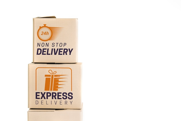 Delivery mockup with boxes