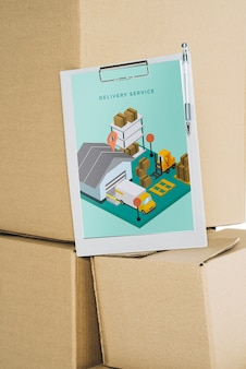 Delivery mockup with clipboard