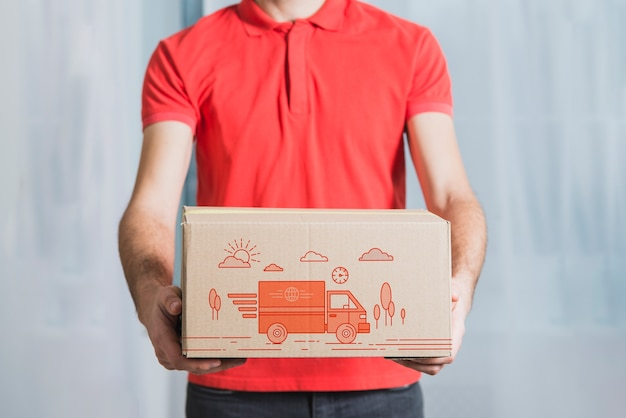 Delivery mockup with man holding box