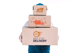 Delivery mockup with man holding boxes