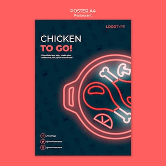 Delivery restaurant flyer template