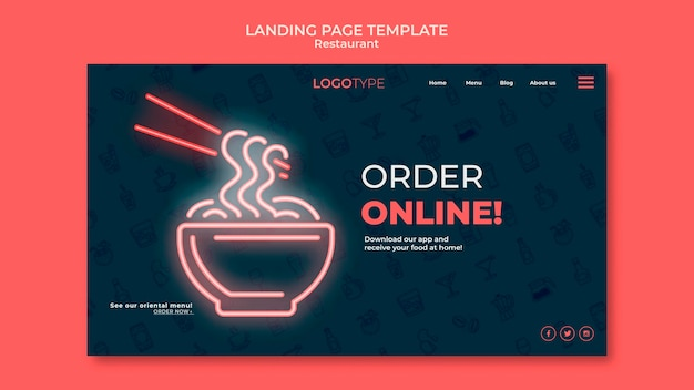 Delivery restaurant landing page template