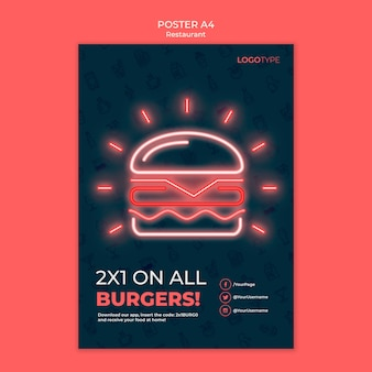 Delivery restaurant template poster