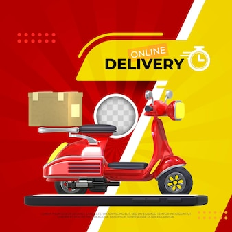 Delivery service banner. 3d illustration