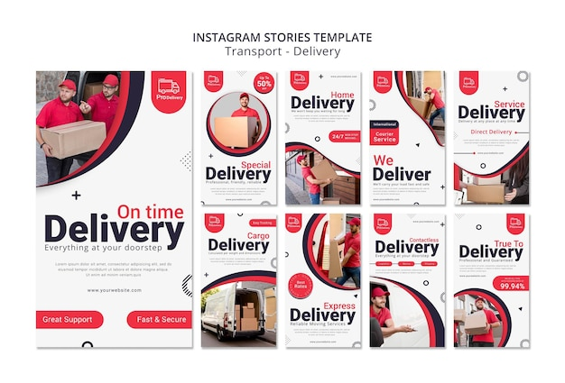 Storie di instagram di servizio di consegna