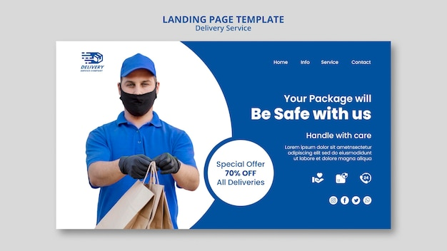 Delivery service landing page template