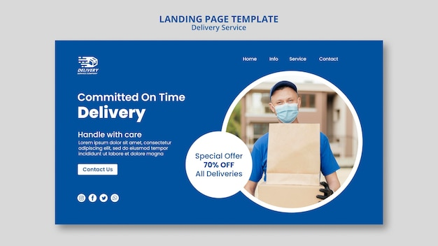 Delivery service landing page