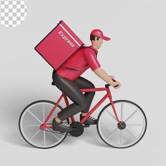 Человек службы доставки на велосипеде. psd премиум